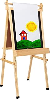 Fundamentals Kids Art Easel 3 in 1 Multipurpose Wooden Art Easel, Chalk Board & Dry Erase White Board & Paper Roll with Pa...