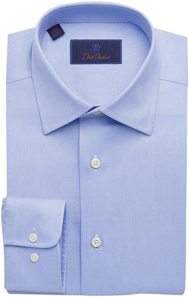 David Donahue Men's Royal Oxford Barrel Cuff Regular Fit Dress Shirt - Blue
