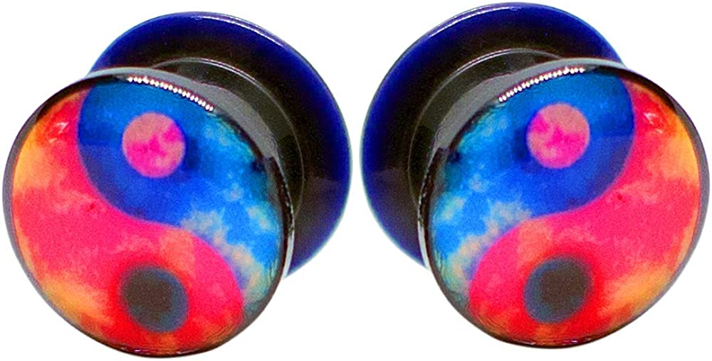 Pierce2GO 2Pcs Black Acrylic with Blue and Red Yin Yang Ear Plugs Tunnels Gauges Flesh Stretchers Expander Piercing Jewelry