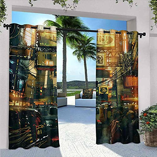Landscape Outdoor Patio Curtains, Cityscape of a Metropolitan Colorful Traffic Jam Crowded Image Photograph Print, for Bedroom, Living Room, Porch, pergola, W72 x L96 Inch Multicolor