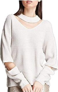 Suéter De Punto Mujer Otoño Elegante Moda Pullover Agujeros Color Sólido Manga Larga Modernas Casual V-Cuello con Cremalle...