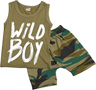 Newborn Baby Boys Clothes Wild Boy Letter Print T-Shirt Tops and Pants Outfits Set Autumn Winter