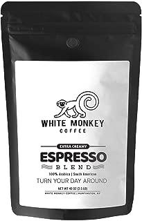 White Monkey 2.5LB Gourmet Bulk Coffee Espresso Bean Blend | Full Crema | Extra Creamy | 100% Arabica | Medium Espresso Roast | Kosher | 25% Larger than 2LB | Whole Bean Coffee, 2.5 Pound (2.5 lb) Bag