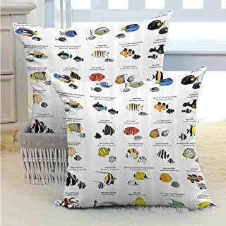 SEMZUXCVO Ocean Decor Personalized Pillowcase Collection of Different Fish Species Decorative Aquatic Educational Picture Print Soft and Durable W18 x L18 inch Multi Color