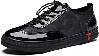 DADIJIER Zapatillas de deporte de moda para hombres Zapatos deportivos de patinador con cordones con cierre elástico Suela...