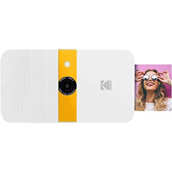 KODAK Smile Instant Print Digital Camera – Slide-Open 10MP Camera w/2x3 ZINK Printer (White/ Yellow) Sticker Edition.