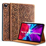 Gexmil for New iPad Pro 11 Case 2nd Generation 2020&2018, Made from Real Leather Cover Cowhide,Pattern-Brown