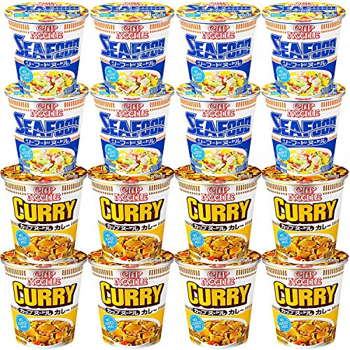 Nissin Instant Cup Noodles Seafood and Curry Flavors, Forks Included For Your Convenient (Pack of 16)