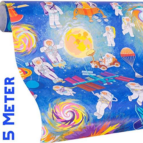 WELTRAUM Geschenkpapier - SPACE Geschenkpapier Weltall - 5m Geschenkpapier Rolle + 9x Geschenkanhänger für Mädchen & Jungs zum Geburtstag, Weihnachten, Ostern, Einschulung - reißfestes Geschenkpapier