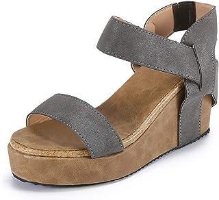 4344d07b175567 KItipeng Chaussures Femme Sandale Talon Compense ÉTé,Pas Cher Grande Taille  Bout Ouvert Respirant avec