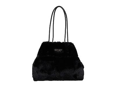 Kate Spade New York Everything Faux Fur Large Tote (Black) Tote Handbags