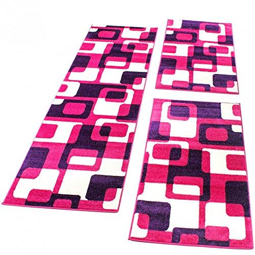 Paco Home Bettumrandung Läufer Teppich Retro Design in Pink Lila Läuferset 3 TLG, Grösse:2mal 60x100 1mal 70x250
