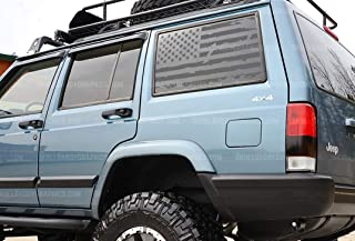 Skull Daddy Graphics XJ Window USA Distressed Flag Decals Stickers to fit Jeep Cherokee 1987-2001 (Both Sides, Matte Black)