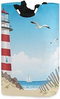 Phare et plage en été Panier à linge Panier à linge sale Sac de mouette Oiseau et bateau à voile sur l'océan Seau pliable ...