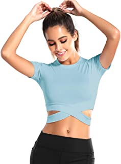 DREAM SLIM Women Crop Tops Tummy Cross Short Sleeve Yoga Running Shirts Gym Workout Tank Tops