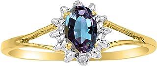 RYLOS - Anillo para mujer con gema ovalada y diamantes brillantes auténticos en plata chapada en oro amarillo de 14 quilat...