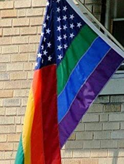 Trade Winds 3x5 New Glory Gay Lesbian Pride Rainbow USA Flag 3' x 5' House Banner Grommets Premium Fade Resistant
