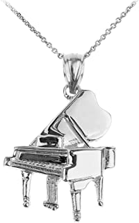 925 Sterling Silver Music Charm Grand Piano Pendant Necklace