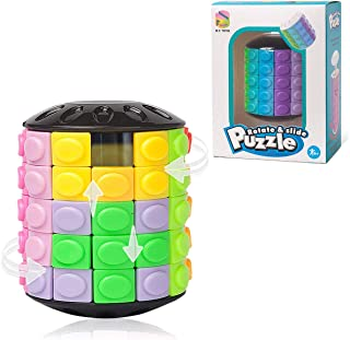 R.Y.TOYS Fidget Toy for Adults/Teens/Boys/Girls,Magic Cube Puzzle,Brain Teasers for Adults,Cylinder Rotate&Slide Logic Puz...