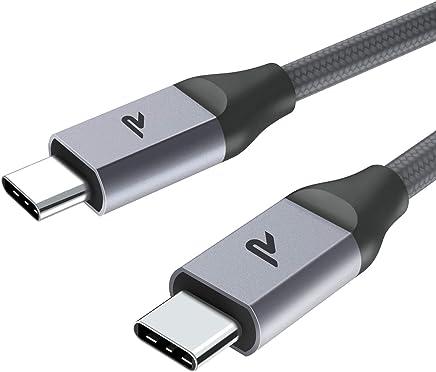 Câble USB C à USB C 2.0 [2m/6.5ft] Rampow - Câble USB Type C Nylon Tressé en Fibre pour Macbook Pro, ChromeBook Pixel, Samsung S8/S9, Huawei P20/P10, Oneplus 6/5/5T, Nintendo Switch - Gris Clair
