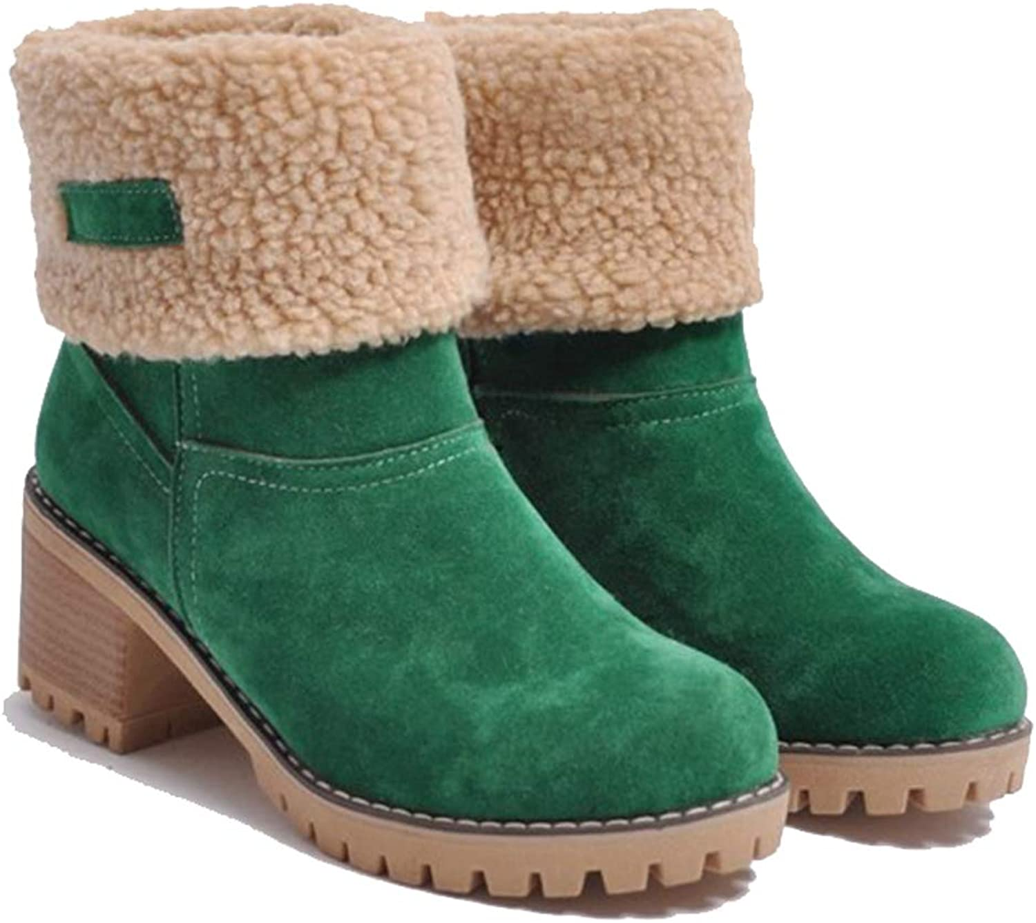 YUhe2018Cw Yu He Women Cute Warm Short Boots Suede Chunky Mid Heel Round Toe Winter Snow Ankle Booties Green 38