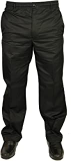 Carabou Mens Trousers Pants Rugby Elasticated Waist in Black Colour Sizes 32-58 King Sizes