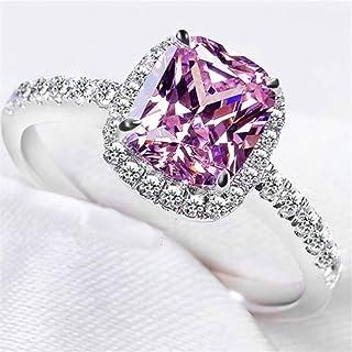 خاتم Naomi باند 925 فضة استرلينية نسائية أنيقة مجوهرات AAA الماس CZ 3CT للنساء خواتم الخطوبة (الوردي خاتم الماس مقاس 9)