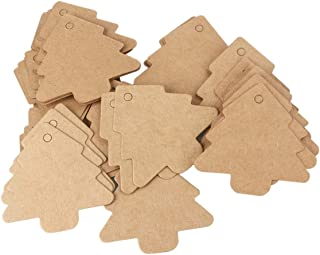 TOYANDONA 25pcs Christmas Craft Paper Tags Scalloped Kraft Paper Christmas Tree Gift Parcel Label Luggage Paper Tags with ...