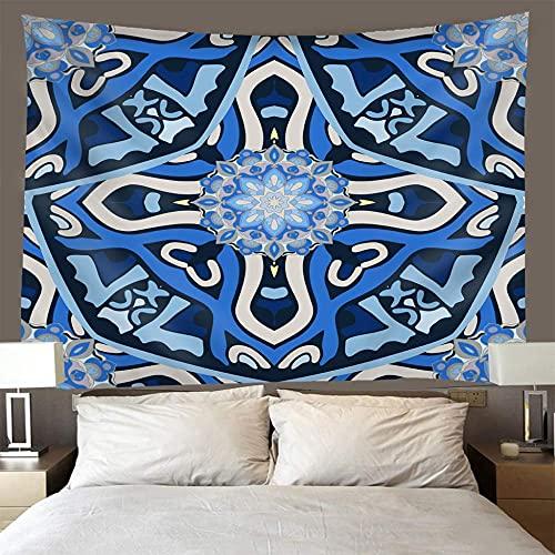 Tapiz Pared ,Tapestry Wall Hanging,Hippie Tapestries,Pareo,Toalla De Playa,PsicodéLico Tapices,Para La DecoracióN Del Hogar,Dorm,HabitacióN O SalóN-Copos de nieve azules 150x200cm