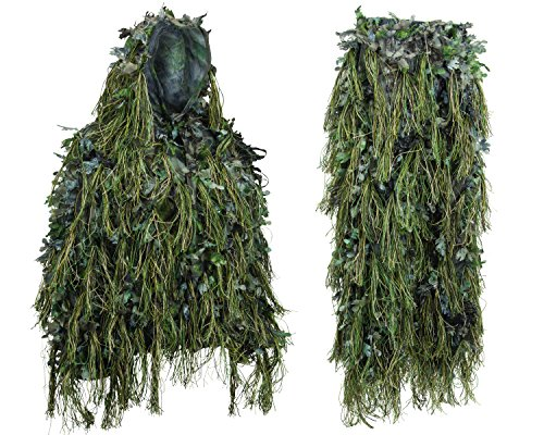 North Mountain Gear Hybrid Woodland Camouflage Ghillie Suit for Men Gilly Suit Light Weight (Woodland Green, XL/XXL)