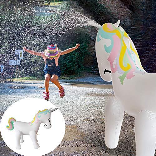 Einhorn Sprinkler Riesiger Aufblasbares Spielzeug Gartensprenger Drucksprühgerät Dusche Spaß Spielzeug Schwimmen Garten Draussen Schwimmbad Partydekoration Geschenke für Kinder Erwachsene (6ft)