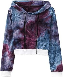Hoodie Crop Tops for Women Tie Dye Long Sleeve Sweatshirt Pullover Blouse