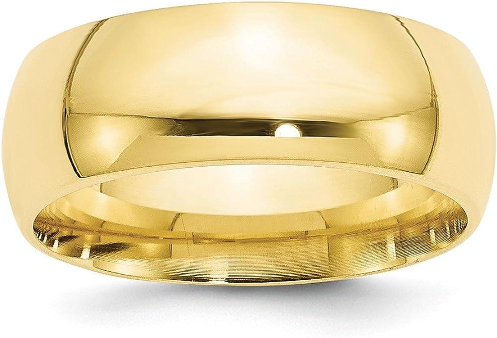10k Yellow Gold 8mm Men's Comfort Fit Plain Classic Wedding Band Ring