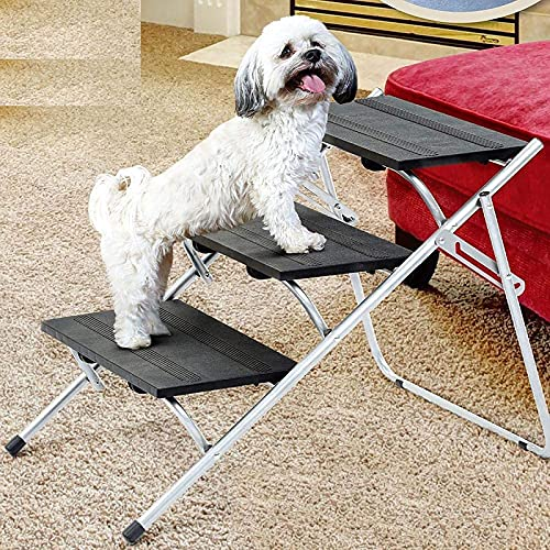 NXL Pasos para Coche para Perros Pasos para Perros Portátiles De 3 Pasos Pasos para Mascotas Plegables Antideslizantes para Perros Pequeños Y Grandes, Rampa para Mascotas con Marco De Metal