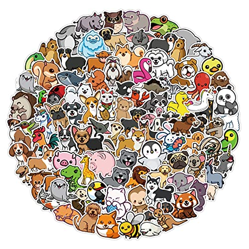 100 pcs Nature Animals Stickers Pack for Kids Boys Girls Teens Vinyl Graffiti Cartoon Stickers for Water Bottle Hydro Flask Laptop Skateboard Luggage Bike Car Computer Tablet Car.… (Animal Stickers)