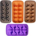 Halloween Candy Molds 4 Pcs Chocolate Molds Silicone with Ghost Pumpkin Bat & Witch Hat