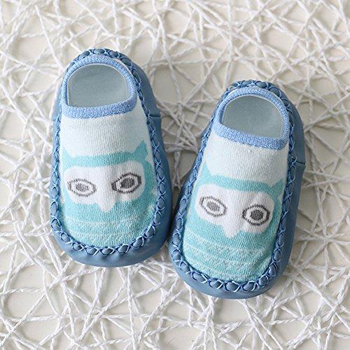 timeracing Fashion Cute para bebé Niños Niñas Cartoon Fox búho algodón Antideslizante Suelo Calcetines, algodón, Blue Dog1, 13cm1