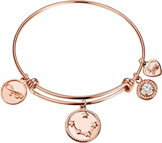 FEELMEM Rose Gold Zodiac Sign Expandable Wire Bracelet Bangle Horoscope Constellation Jewelry Birthday Gift for Women Girls Gift