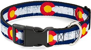Buckle-Down Plastic Clip Collar - Colorado Flags2 Repeat Weathered - 1