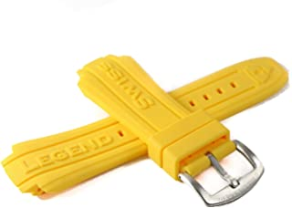 Swiss Legend 19MM Yellow Silicone Rubber Watch Strap & Silver Stainless Buckle fits 53mm Neptune Watch