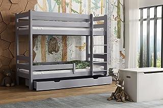 Children's Beds Home - Lit superposé en bois massif – Toby pour enfants – Taille 200 x 90, couleur gris, tiroir oui, matel...