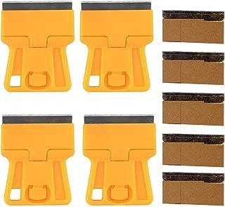 Wekoil Mini Plastic Razor Blade Scraper High Visibility Yellow Window Scraper Paint Scraper 5 Spare Metal Razor Scraper Blades Stove Top Scraper Sticker Decal Residue Label Removal Hand Scraping Tool