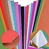 JNCH (20 Blatt A4) 10 selbstklebend Dekofolie + 10 Glitzer Papier Glänzend Tonpapier Bastelpapier Glitzerpapier Deko Klebefolie Bastelfolie Dekopapier Glitter Karte Karton Glitzer Folie Glitzerfolie