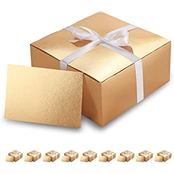 Paper Gift Boxes for Light Weight Gifts Glossy Rose Gold Rose Gold Gift Boxes with Lids Textured Finish Cupcake Boxes PACKQUEEN 10 Gift Boxes 6x6x4 Inches