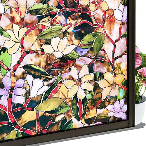 HUIHU Safety Decorative Window Films,PVC Static Cling Stained Privacy Protective Thermal Insulation Glass Stickers,W 60 By L 50 Cm