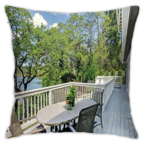 SHUJIA Funda de cojín para el hogar, patio, balcón con bosques pacíficos en fotografía de cielo soleado transparente, 45,7 x 45,7 cm
