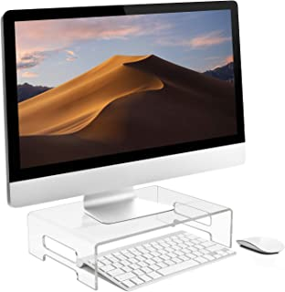 Sorbus Acrylic Monitor Riser, Laptop, Computer Desktop Stand, Clear Desk Display Tray Shelf with Carry Handles, Jewelry, L...
