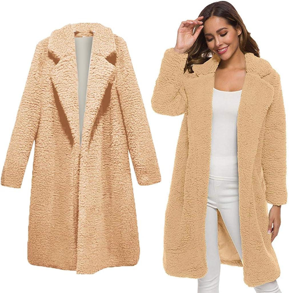 KLFGJ Women Long Coats Winter Warm Outwear Jackets Long Sleeve Tunnel Collar Parka Ladies Cardigans Blazer