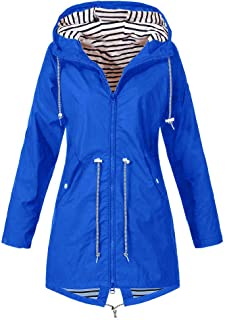 Womens Raincoat Outdoor Hoodie Waterproof Hooded Windproof Jacket