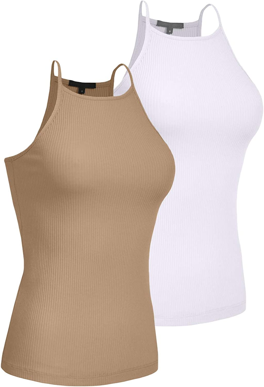 2 Pack S-3XL LOVNY Womens Active High Neck Simple Casual Spaghetti Strep Ribbed Camisole Tank Top J